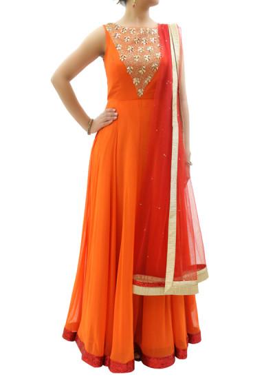 Indian Fashion Designers - silvereene - Contemporary Indian Designer Clothes - Anarkalis - SI-SS15-SIL-20 - Orange Embroidered Anarkali