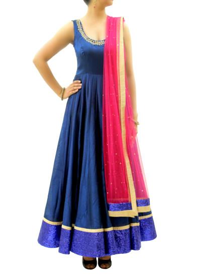 Indian Fashion Designers - silvereene - Contemporary Indian Designer Clothes - Anarkalis - SI-SS15-SIL-8 - Royal Blue Silk Anarkali