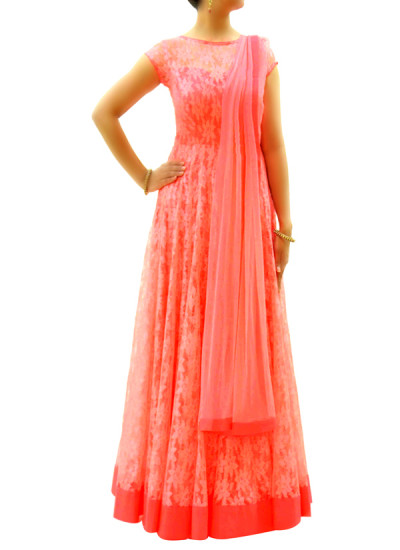 Indian Fashion Designers - silvereene - Contemporary Indian Designer Clothes - Anarkalis - SI-SS15-SIL-9 - Pink Net Anarkali
