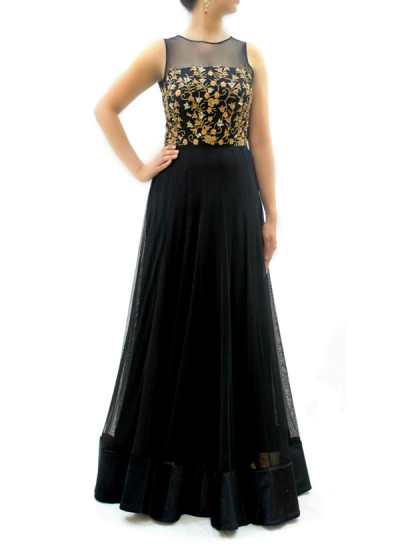 Indian Fashion Designers - silvereene - Contemporary Indian Designer Clothes - Gowns - SI-SS15-SIL-2 - Black Embroidered Gown