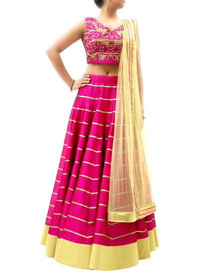 Indian Fashion Designers - silvereene - Contemporary Indian Designer Clothes - Lehengas - SI-SS15-SIL-6 - Pretty Pink Silk Lehenga