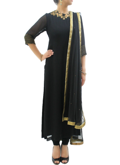 Indian Fashion Designers - silvereene - Contemporary Indian Designer Clothes - Salwars - SI-SS15-SIL-11 - Black  Embroidered Kurta Set