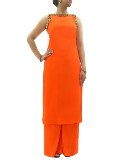 Indian Fashion Designers - silvereene - Contemporary Indian Designer Clothes - Salwars - SI-SS15-SIL-3 - Fiery Oranga Kurta Set