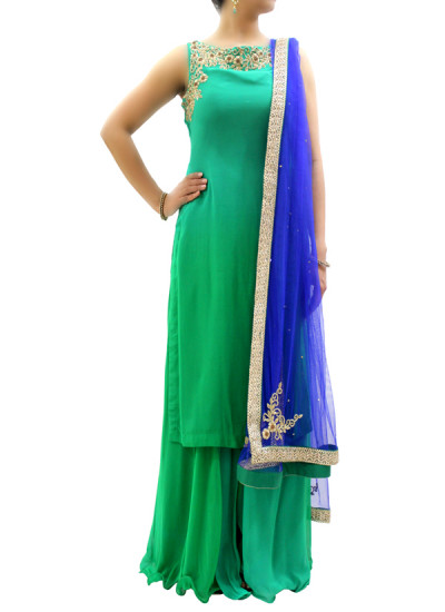 Indian Fashion Designers - silvereene - Contemporary Indian Designer Clothes - Salwars - SI-SS15-SIL-4 - Green Ombre Kurta Set