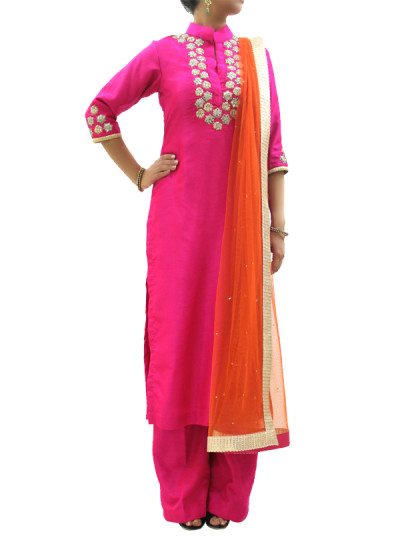 Indian Fashion Designers - silvereene - Contemporary Indian Designer Clothes - Salwars - SI-SS15-SIL-5 - Pink Embroidered Kurta Set