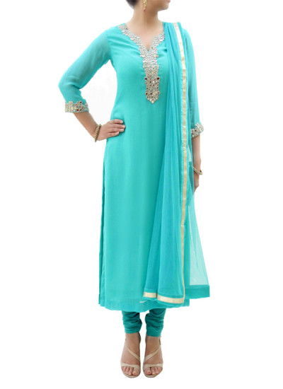Indian Fashion Designers - silvereene - Contemporary Indian Designer Clothes - Salwars - SI-SS15-SIL-7 - Blue Mirror Work Kurta Set