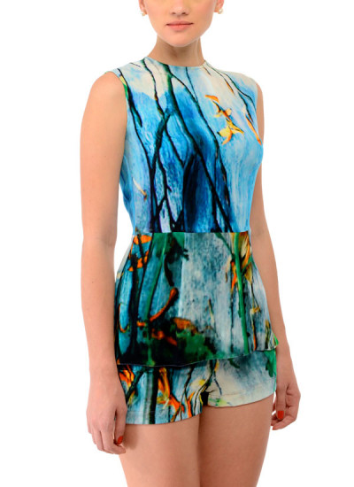 Indian Fashion Designers - Swatee Singh - Contemporary Indian Designer Clothes - Tops - SWS-AW14-SST-01B - Surreal Printed Sleeveless Top