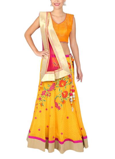 Indian Fashion Designers - Yosshita-Neha - Contemporary Indian Designer Clothes - Lehengas - YN-SS15-YNL-001 - Mango Yellow and Orange Lehenga