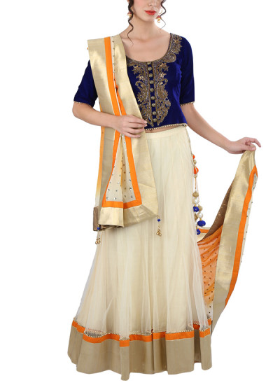 Indian Fashion Designers - Yosshita-Neha - Contemporary Indian Designer Clothes - Lehengas - YN-SS15-YNL-003 - Off-white and Blue Lehenga