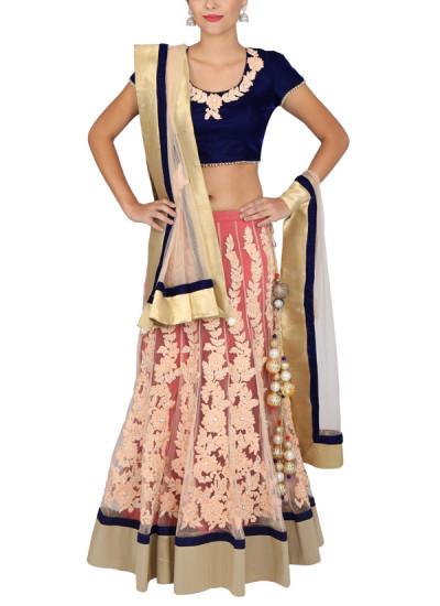 Indian Fashion Designers - Yosshita-Neha - Contemporary Indian Designer Clothes - Lehengas - YN-SS15-YNL-009 - Blue and Peach Net Lehenga