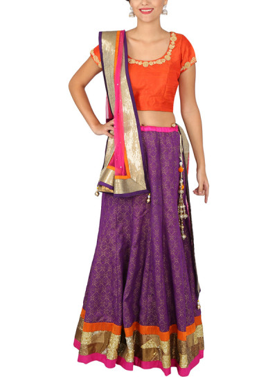 Indian Fashion Designers - Yosshita-Neha - Contemporary Indian Designer Clothes - Lehengas - YN-SS15-YNL-016A - Purple and Orange Embroidered Lehenga