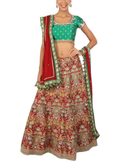 Indian Fashion Designers - Yosshita-Neha - Contemporary Indian Designer Clothes - Lehengas - YN-SS15-YNL-020 - Maroon and Green Lehenga