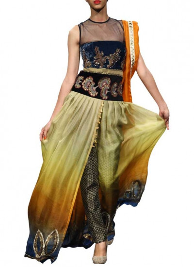Blue and Gold Shaded Dress by Indian Fashion Designer Narendra Kumar