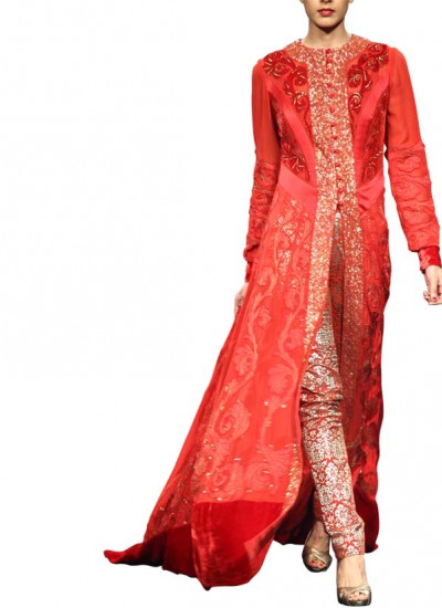 Elegant Red Dress by Indian Designer Narendra Kumar