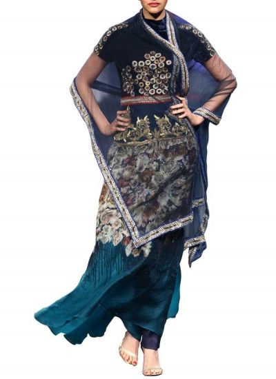 Embroidered Shaded Blue Coloured Bridal Lengha for Indian Brides