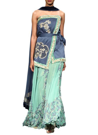 Beautiful Georgette Lehenga with Quilted Blouse for Indian Brides and for Luxury Indian Weddings