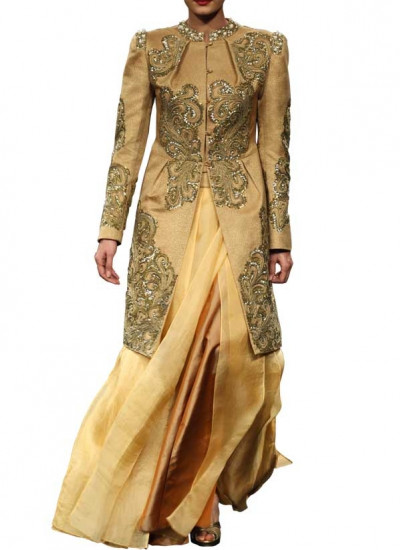 Golden Coloured Jacket and Lehenga for Indian Weddings by Narendar Kumar