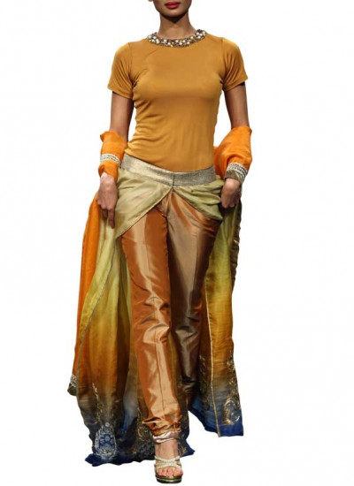 Gold Shaded Dress by Indian Designer Narendra Kumar
