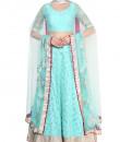 Indian Fashion Designers - Devnaagri - Contemporary Indian Designer - Aqua Georgette Lehenga Set - DEV-SS16-LN-23