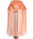Indian Fashion Designers - Devnaagri - Contemporary Indian Designer - Peach Straight Cut Suit Set - DEV-SS16-LSH-05