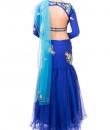 Indian Fashion Designers - Kriti J - Contemporary Indian Designer - Royal Blue Fish Cut Lehenga - KJ-SS16-LA03