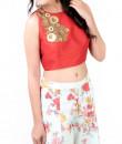 Indian Fashion Designers - Kriti J - Contemporary Indian Designer - Floral Print Sharara with Crop Top - KJ-SS16-LA12