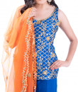 Indian Fashion Designers - Kriti J - Contemporary Indian Designer - Royal Blue Kurta Sharara Set - KJ-SS16-LA14