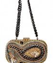 Indian Fashion Designers - Meera Mahadevia - Contemporary Indian Designer - Gold Rectangular Clutch - MM-SS16-MM-BB-CL-016