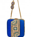 Indian Fashion Designers - Meera Mahadevia - Contemporary Indian Designer - Blue Textured Box Clutch - MM-SS16-MM-BB-COU-040