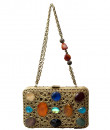 Indian Fashion Designers - Meera Mahadevia - Contemporary Indian Designer - Multi-Colored Stone Studded Clutch - MM-SS16-MM-DM-COU-020