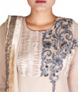 Indian Fashion Designers - Nausheen Osmany - Contemporary Indian Designer - Asymmetric Embroidered Beige Anarkalli - NO-SS16-NO-SS16-N1087