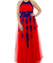 Indian Fashion Designers - Neehara - Contemporary Indian Designer - Tomato Red Halter Neck Gown - NH-SS16-NH-BT11