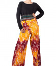 Indian Fashion Designers - Pulpypapaya - Contemporary Indian Designer - Multicolored Marble Pleat Batik Palazzo - PP-SS16-BKPZBR6012FJJ