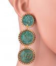 Indian Fashion Designers - Rejuvenate Jewels - Contemporary Indian Designer - Triple Coin Earrings - RJJ-SS16-RJE556