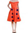 Indian Fashion Designers - Riddhi And Revika - Contemporary Indian Designer - Orange Midi Dress - RRI-AW16-DRS-ONFM