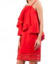 Indian Fashion Designers - Riddhi And Revika - Contemporary Indian Designer - Red Waterfall Yoke Dress - RRI-SS16-DRS-23