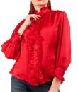 Indian Fashion Designers - Riddhi And Revika - Contemporary Indian Designer - Red Ruffled Shirt - RRI-SS16-SHRT-11