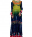 Indian Fashion Designers - Satya Suman - Contemporary Indian Designer - Printeed Teal Green Gown - SS-NO-SS16-STL48