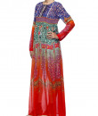 Indian Fashion Designers - Satya Suman - Contemporary Indian Designer - Flowy Printed Gown - SS-NO-SS16-STL53