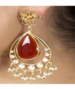 Indian Fashion Designers - Silvermerc - Contemporary Indian Designer - Red Tear Drop Earrings - SM-S16-SM-254
