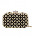 Indian Fashion Designers - The Purple Sack - Contemporary Indian Designer - Extravagant Black Beaded Clutch - TPS-SS16-J2