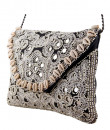 Indian Fashion Designers - The Purple Sack - Contemporary Indian Designer - Black Shell Bead Embroidered Clutch - TPS-SS16-J30