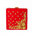 Indian Fashion Designers - Tresclassy - Contemporary Indian Designer - Red Flower Square Clutch - TC-SS16-TC1503