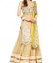 Indian Fashion Designers - True Browns - Contemporary Indian Designer - Beige Net Long Top Lehenga - TBS-SS16-TB-00928