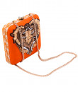 Indian Accessories Designers - Aarbe - Indian Designer Bags - ARB-SS15-AB-9 - Orange Abstract Design Clutch
