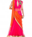 Indian Fashion Designers - Anju Agarwal - Contemporary Indian Designer - Watermelon Pink Fish Cut Gown Saree - ANJA-AW16-LGA-343