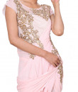 Indian Fashion Designers - Anju Agarwal - Contemporary Indian Designer - Blush Pink Draped Gown Saree - ANJA-AW16-LSA6567