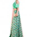 Indian Fashion Designers - Anushree Agarwal - Contemporary Indian Designer - Aqua Pineapple Printed Lehenga Set - ANUA-AW16-AEL-0081