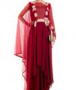 Indian Fashion Designers - Anushree Agarwal - Contemporary Indian Designer - Wine Layered Suit Set - ANUA-AW16-AES-475