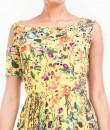 Indian Fashion Designers - Anushree Agarwal - Contemporary Indian Designer - Sunny Botanical Printed High Slit Maxi Dress - ANUA-AW16-AWT2230